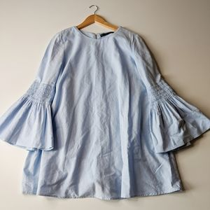Zara Chambray Denim Flare Bell Sleeve Flowy Dress